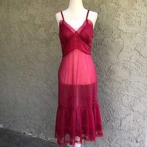 Vintage Sheer Raspberry Lace Slip